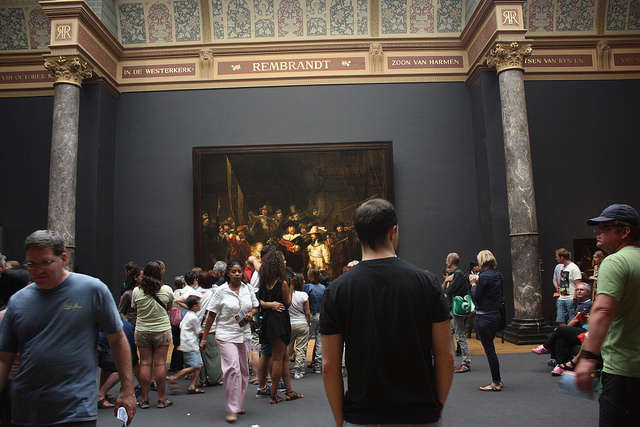 The scene in front of Rembrandt's The Night Watch